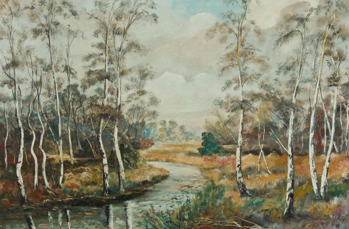 Sydney M. White - 1956 Oil, River Landscape with Silver Birch TreesZoom Sydney M. White - 1956 Oil, River Landscape with Silver Birch Trees          New Sydney M. White - 1956 Oil, River Landscape with Silver Birch Trees